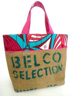 grand cabas en sac de café recyclé, wax fushia, passepoil rose fluo : Sacs à main par k-chik