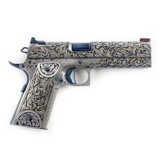 This could be a pistol the inevitable Queen Elizabeth could use. Weapons Guns, Airsoft Guns, Guns And Ammo, Engraved 1911, Armas Ninja, 1911 Pistol, Mens Toys, Custom Guns, Fantasy Weapons
