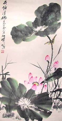 Chinese Paintings Lotus Flowers Gallery Room Seventeen Price Includes: Certificate of Painting's Authenticity Chinese Painting Mounted on Silk Brocade 3 Days Delivery Service (excluding weekends and holidays) Delivery Insurance 60 Days Uncon Lotus Painting, Japan Painting, Ink Painting, Chinese Painting Flowers, Lotus Kunst, Lotus Art, Flower Drawing Tutorials, Oriental Flowers, Chinese Drawings