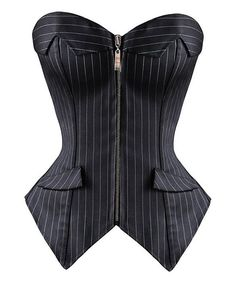 Posh pinstripes and a zipper detail make this corset a sophisticated yet sultry boudoir pick. Its svelte silhouette and supple stretch blend support and caress curves. Size note: Daisy Corsets recommends ordering based on waist measurement. Please refer to each size chart.