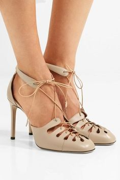 The Row | Diamond lace-up leather pumps | NET-A-PORTER.COM