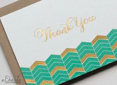 Bright mint green and gold foil thank you notes.  Great gift for a bride-to-be!  Special Small business Saturday offer!   www.eberleinvitations.com