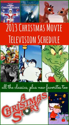 Let's be honest, we all love and cherish the Christmas Television Shows and Movies, but remembering when they are going to be on is tricky. Pin (or bookmark) this list and know what day and time your favorites will be on. 2013 Christmas Movie Television Schedule