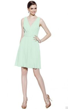 Short Sleeveless Zipper A-line Chiffon Bridesmaid Dresses