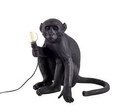 Monkey Sitting Table lamp - Outdoor / H 32 cm Black by Seletti - Design furniture and decoration with Made in Design Rope Pendant Light, Cheap Pendant Lights, Pendant Lighting, Unusual Table Lamps, Black Table Lamps, Lamp Table, Led Store, Rope Lamp, Black White Gold