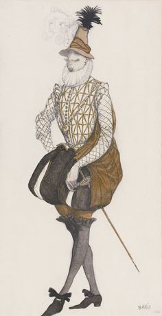 Léon Bakst – Costume design for Prince Espagnol from the ballet the Sleeping Beauty, 1916