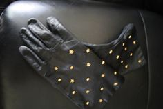 Luxurious vintage 80s black genuine leather gloves with  by VezaVe, $21.00