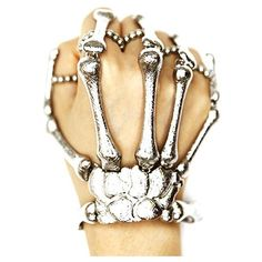 SILVER BONES Hand Chan Skull Skeleton Ring Bracelet- The Fashion Corp ($24) ❤ liked on Polyvore featuring jewelry, bracelets, rings, silver skull bracelet, silver bracelet bangle, skeleton jewelry, chain bracelet and stretchy bracelet