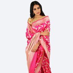 Pink Bird motif saree with zari border