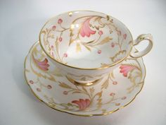Rare Grosvenor Tea cup and saucer set, Grosvenor Lytham Hand Painted tea cup and saucer, Pink and Gold tea cup set.. by AntiqueAndCrafts on Etsy