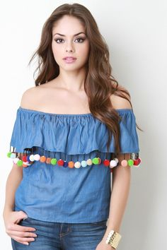 Chambray Off The Shoulder Fiesta Top – Style Lavish