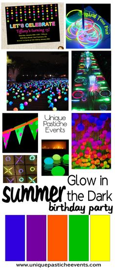 Glow in the Dark Kids Birthday Party Ideas - Party Ideas Neon Birthday, 13th Birthday Parties, 16th Birthday, 17th Birthday Party Ideas, Glow In Dark Party, Glow Party, Black Light Party Ideas, Spa Party, Disco Party