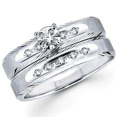 Textured Edge 14K White Gold Diamond Wedding Ring Set