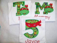 Family Set of ninja turtle personalized turtled by playpatch, $80.95