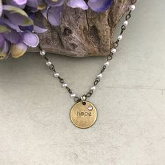 Hope charm necklace, pearl jewelry, gift for her, graduation gift, mothers day gift by JewelrygypsyDesigns on Etsy