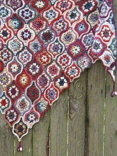 """Crochet shawl """"Mystical Lanterns"""" (lace wrap, crochet squares, crochet wool shawl, autumn shawl, motif shawl)"""