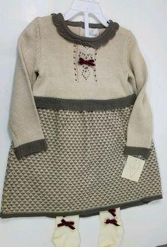 97d0980953534 HEART Girls Knit Skater Dress/Leggings Beige Ivory L/S Velvet Bows Toddler  Sz 2T #Heart #DressOutfit #DressyHoliday