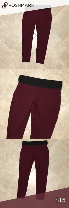 Maroon Leggings Cute maroon leggings, thick black elastic waistband, excellent condition. Maurices size XL regular. Maurices Pants Leggings