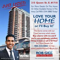 Your Home Sold Guaranteed or I'll Buy it!* To Discuss the Sale of Your Home Call Me at (905) 334-5883 (no obligation to list) and Start Packing! Or get a FREE report that details the inner workings of this exclusive offer at: www.RobsGuaranteedOffer.com *some conditions apply