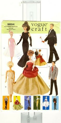 Vintage Sewing Patterns Vogue 650 Fashion Doll Wardrobe Pattern - Copyright 1998 and now Out of Print.Makes vintage styled formal attire for inch fashion dolls such as Barbie and Ken.This was also issued by Vogue as pattern number Sewing Barbie Clothes, Barbie Sewing Patterns, Sewing Dolls, Doll Clothes Patterns, Clothing Patterns, Doll Patterns, Pattern Sewing, Craft Patterns, Barbie Und Ken