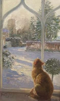 """""""Watching Snowflakes"""" by Timothy Easton, oil on canvas- From a young age Easton knew he wanted to be an artist. He studied at Kingston College of Art & at Heatherley's in London. After travelling in Europe, he worked as a portrait painter & church muralist. In the early 1970s he concentrated full-time on sculpture, & for the next 15 years his bronzes were featured in many exhibitions (UK & abroad). In the mid-80s, he began to paint again, quickly establishing a reputation as a landscape…"""