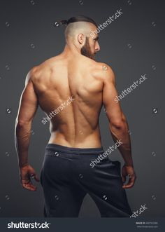 Muscular Mans Back On Grey Background Stock Photo (Edit Now) 400763386 Action Pose Reference, Human Poses Reference, Pose Reference Photo, Body Reference, Anatomy Reference, Figure Reference, Muscular Men, Man Anatomy, Human Body