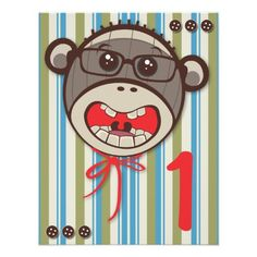 Silly Glasses Sock Monkey Birthday Party invitatio Custom Invitations