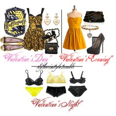 Hufflepuff Valentine's Day, created by slytherinstyle on Polyvore