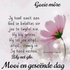 Good Morning Greetings, Good Morning Quotes, Happy Quotes Inspirational, Goeie Nag, Goeie More, Afrikaans Quotes, Bible Prayers, Special Quotes, Qoutes