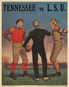 Tennessee v LSU Tigers Vintage Official 1959 Football College Program Poster (But the uniforms are from an earlier time)
