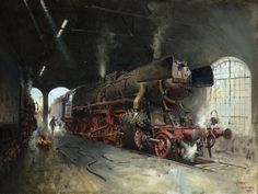 Cuneo put a tiny mouse in every one of his amazing paintings - can you find it? Terence Tenison Cuneo ~ M. Holland, Old Steam Train, Steam Railway, Train Art, Railway Posters, Old Trains, Art Curriculum, Amazing Paintings, Steam Locomotive