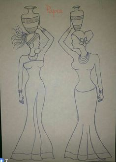 Sketch of African woman Art Drawings Sketches Simple, Outline Drawings, Canvas Painting Tutorials, Fabric Painting, Buddha Canvas, Flower Art Drawing, African Art Paintings, African Dolls, African Crafts