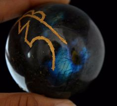 795 Cts Delicate Labrodorite Gemstone Ball Stone With Cho Ku Rei Size 46 mm E996 #valueforbucks
