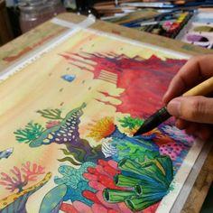 "- Adilson Farias (@adilsonfarias) on Instagram: ""Glub Glub #watercolor #illustration #painting #childrenbooks #colecoesfolha #adilsonfarias #art"""