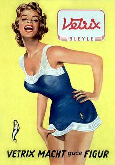 "Poster for Bleyle bathing suit, ""Vetrix cuts a fine figure"", Germany. Via technoseum Pin Up Vintage, Vintage Ads, Vintage Posters, Retro Ads, Vintage Advertisements, 1950s Aesthetic, Vintage Magazine, Pattern Photography, Retro Lingerie"