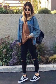 See our straightforward, comfortable & simply lovely Casual Fall Outfit inspiring ideas. Get encouraged with these weekend-readycasual looks by pinning one of your favorite looks. casual fall outfits for work Teen Fashion, Fashion Outfits, Fashion Clothes, Fashion Ideas, Womens Fashion, Fasion, Punk Fashion, Edgy Fall Fashion, Fall Fashion Women