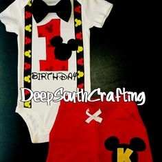 Mickey Mouse Disney inspired smash cake first second third birthday outfit onesie bodysuit toddler shirt bow tie suspenders. Embroidery or iron on is 8.00 add on fee. Read item detail tab. Custom designed and created by: DeepSouthCrafting