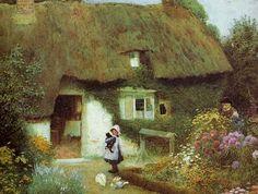 Arthur Claude Strachan: Girl with Kitten