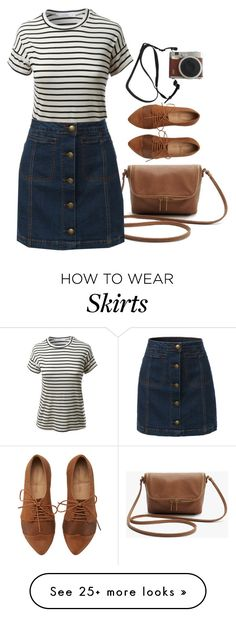 """Vintage Striped Tee & Denim Skirt"" by le3noclothing on Polyvore featuring Fuji, LE3NO and vintage"