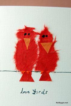 make a sweet love birds card for Valentine's Day - NoBiggie.net