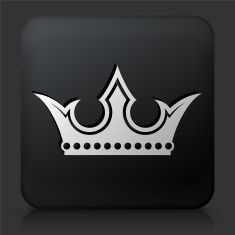 Black Square Button with Crown Icon vector art illustration