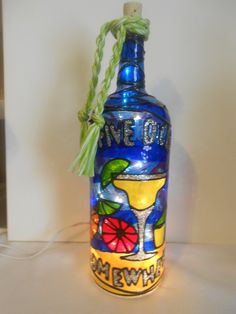 Lighted Handpainted Wine Bottle It's 5 O'clock somewhere Inspired Stained Glass look by HillysBoutique on Etsy
