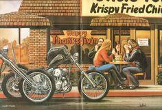 David Mann Biker Art Easyriders Centerfold 16'' par DadsVintageAds