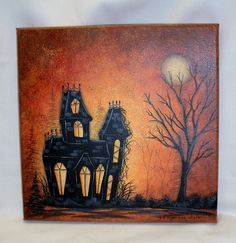 Halloween House 10X10 Acrylic Painting on Canvas by FromGramsHouse