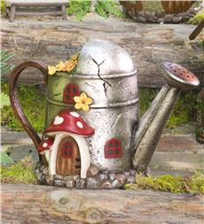 Turn my metal watering can into a fairy home. Miniature Fairy Garden Watering Can Home has a delightful found look that's fit for fairies. Cute little mushroom details and a weathered appearance will fit right into your miniature fairy garden. Retro Industrial, Clay Fairy House, Fairy Village, Clay Fairies, Fairy Garden Houses, Fairy Garden Accessories, Fairy Doors, Miniature Fairy Gardens, Fairy Land