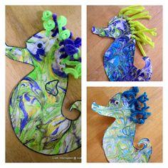 shaving cream painting seahorse craft