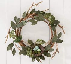 Rustic Easter Wreath With Nest. Beautiful Easter wreath perfect for the whole spring season! Love love love the little birds nest on the bottom! Super cute! AFF