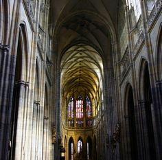 Gothic nave, looking east, St. Vitus Cathedral, Prague, Czech Republic. Photo by Janusz Leszczynski.