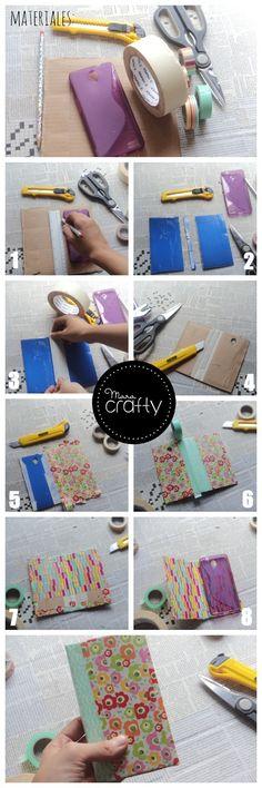 Funda para el móvil tipo libro con washi tape | Aprender manualidades es facilisimo.com