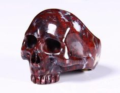 Chinese Bloodstone Crystal Skull Ring